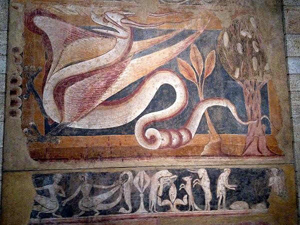 medieval dragon fresco